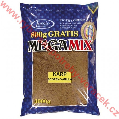 Krmítková a vnadící směs Lorpio Megamix 1 kg scopex-vanilka