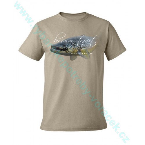 Rybářské tričko Flotsam Potočák s muškou khaki
