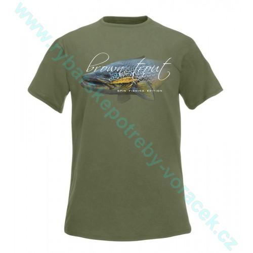 Rybářské tričko Flotsam Potočák s woblerem olivová