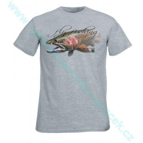 Rybářské tričko Flotsam Duhák s muškou Oxford šedá